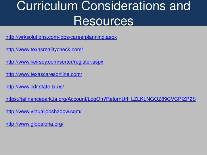Curriculum Considerations and Resources
