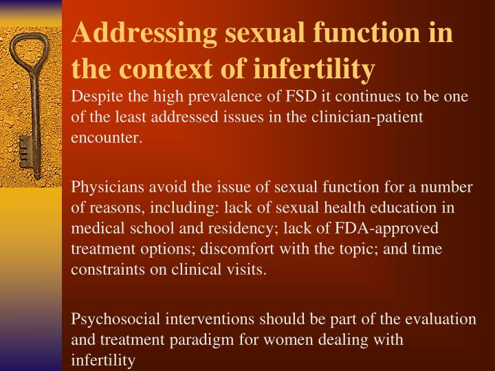 Addressing sexual function in the context of infertility