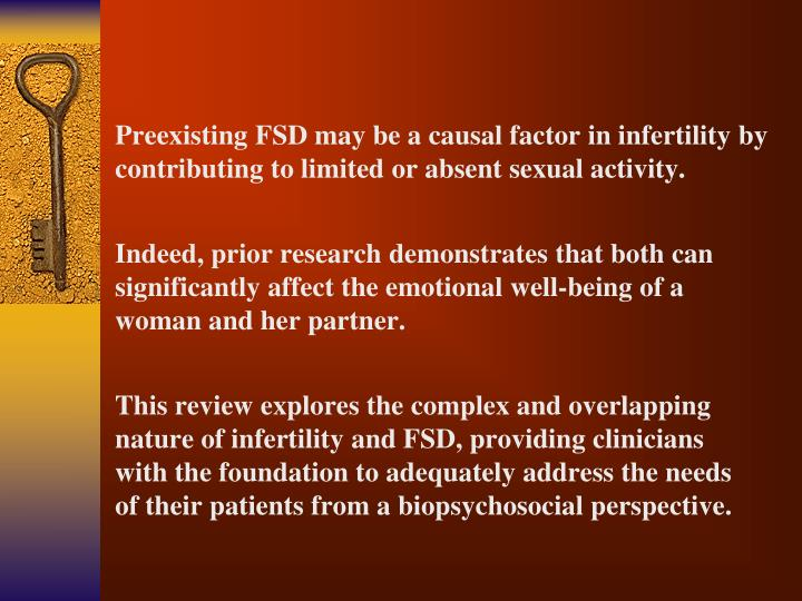 Preexisting FSD may be a causal factor in infertility by contributing to limited or absent sexual activity.