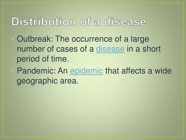 Distribution of a disease
