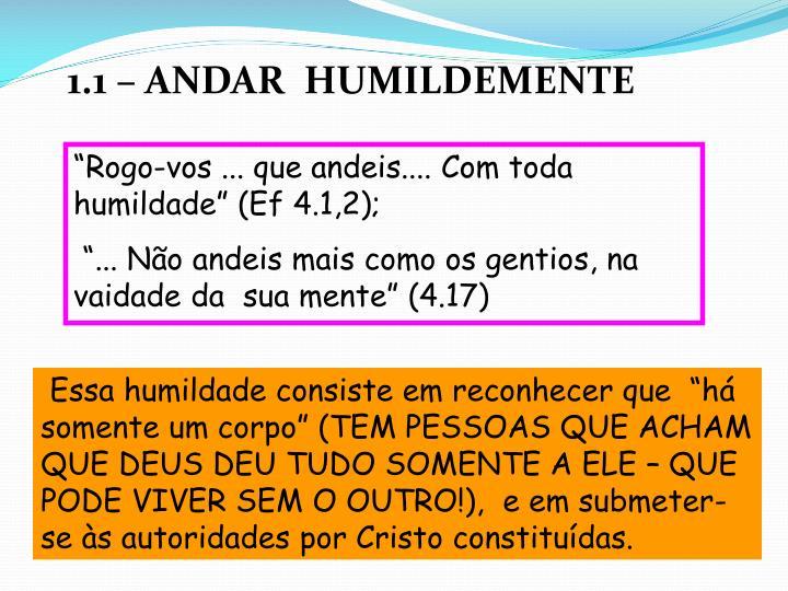 """""""Rogo-vos ... que andeis.... Com toda humildade"""" (Ef 4.1,2);"""