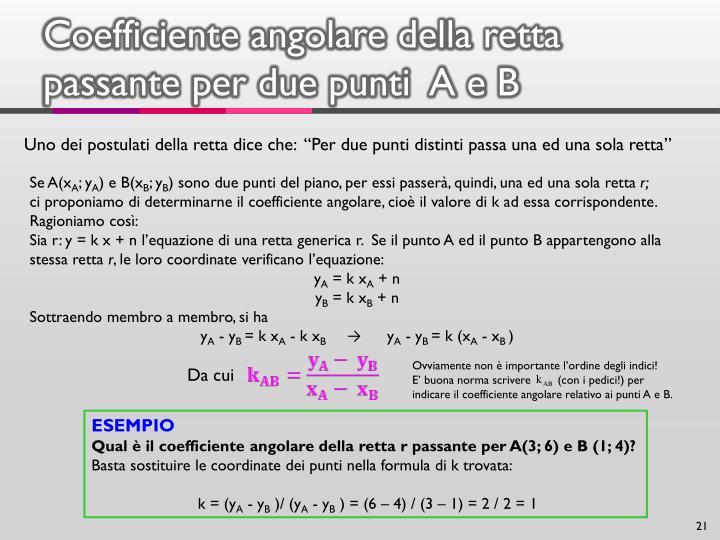 Coefficiente angolare della retta passante per due punti  A e B