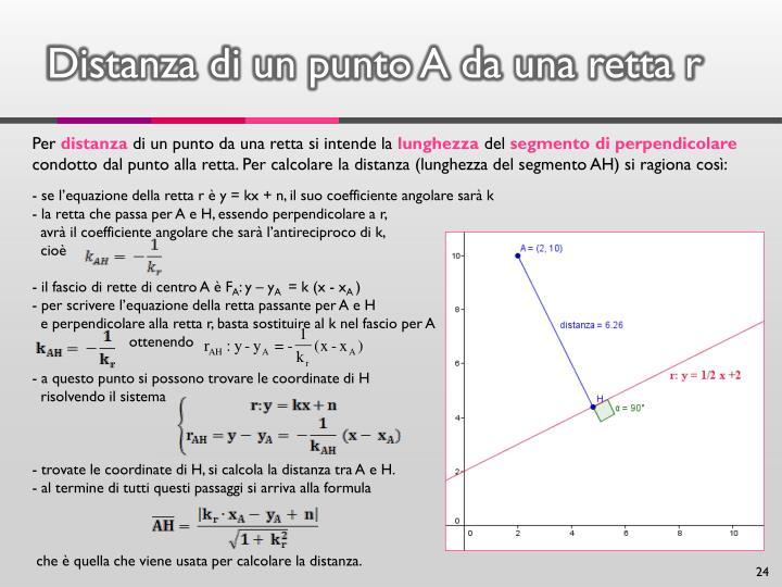 Distanza di un punto A da una retta r