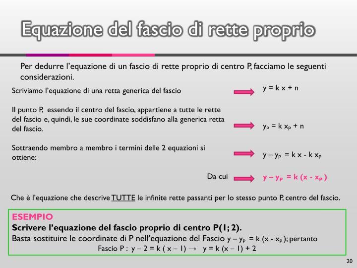 Equazione del fascio di rette proprio