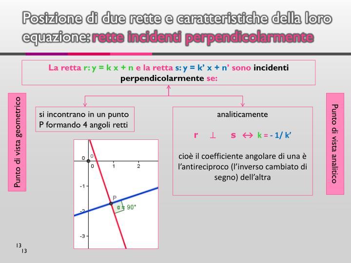 Posizione di due rette e caratteristiche della loro equazione: