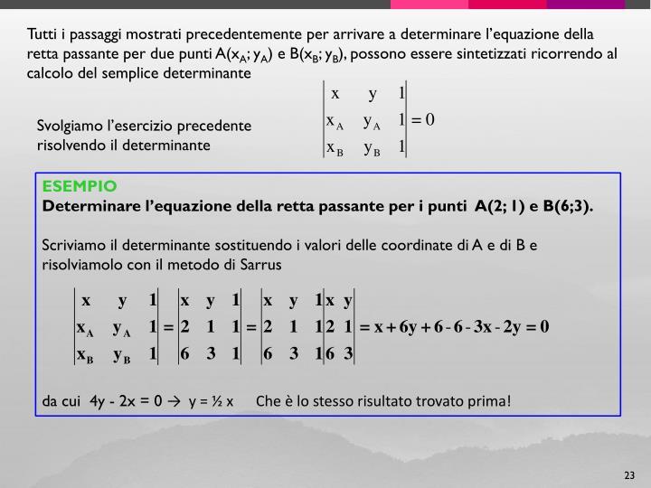 Tutti i passaggi mostrati precedentemente per arrivare a determinare l'equazione della retta passante per due punti A(