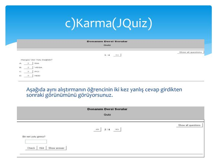 c)Karma(JQuiz)