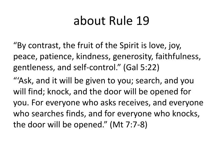about Rule 19
