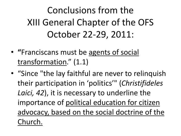 Conclusions from the