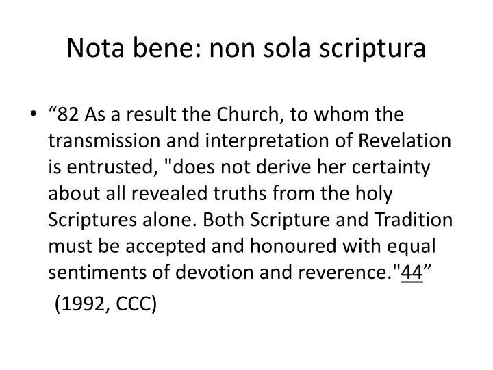 Nota bene: non sola scriptura