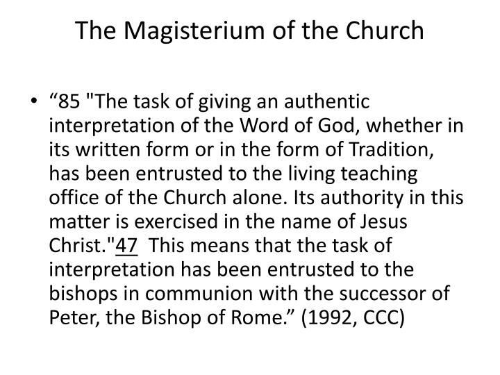 The Magisterium of the Church