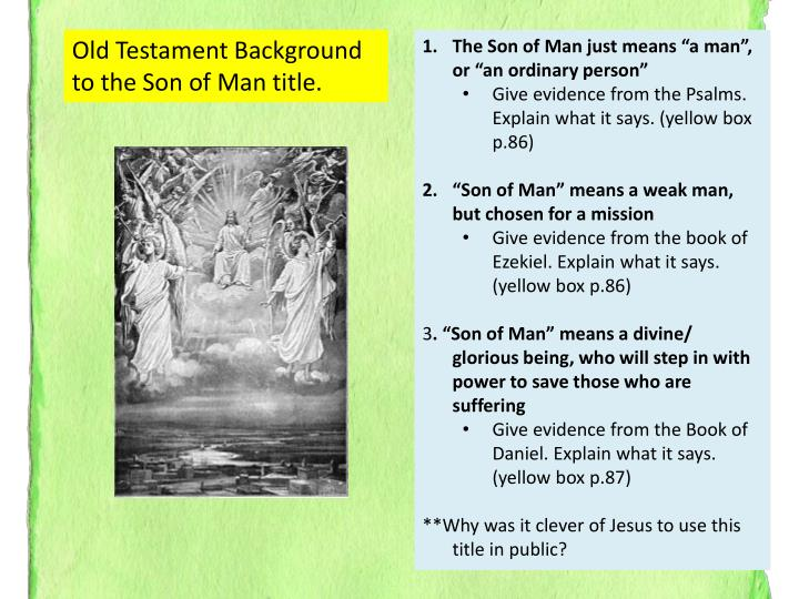 Old Testament Background to the Son of Man title.