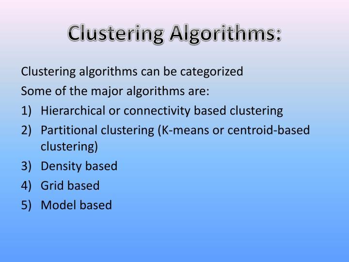 Clustering Algorithms: