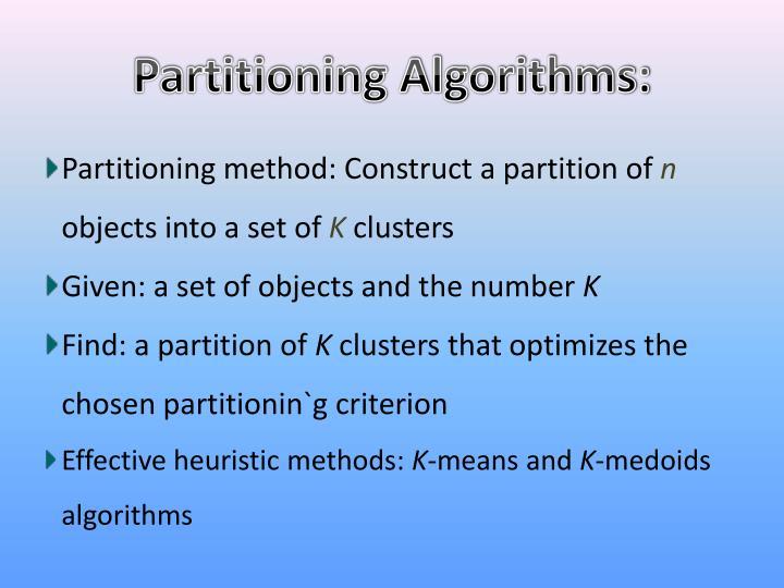 Partitioning Algorithms: