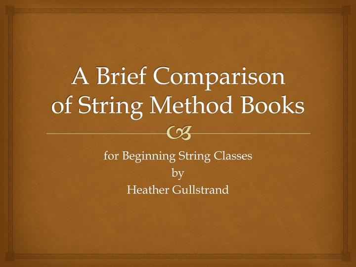 an overview of comparative method