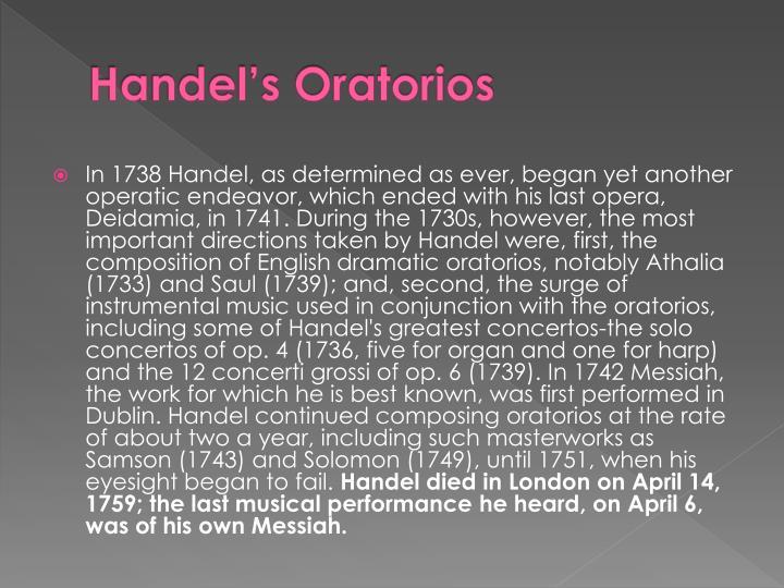 Handel's Oratorios