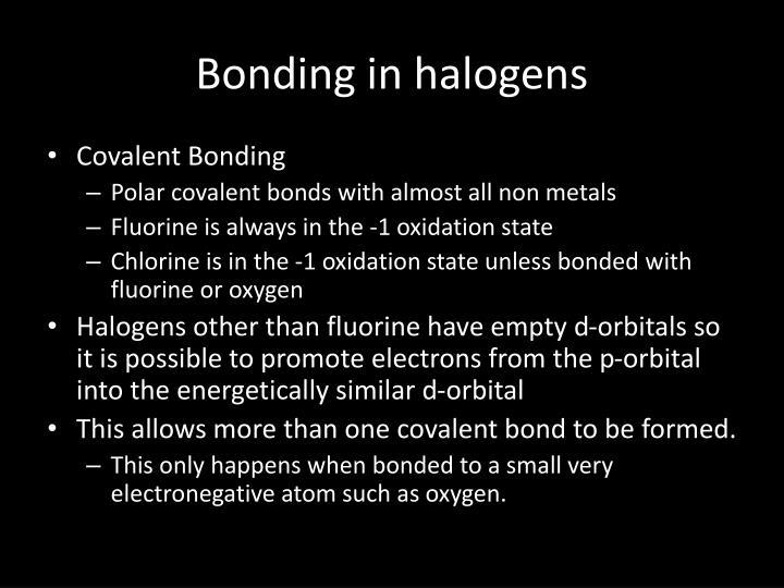Bonding in halogens