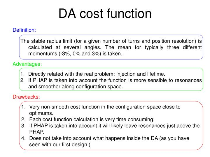 DA cost function