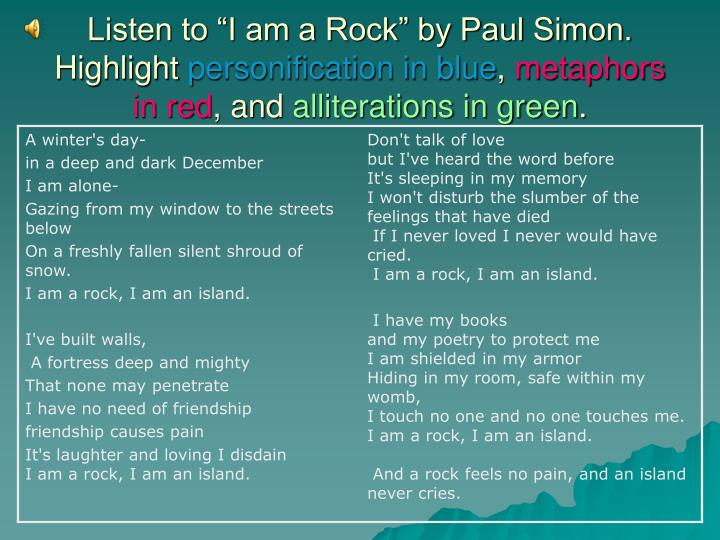 "Listen to ""I am a Rock"" by Paul Simon. Highlight"