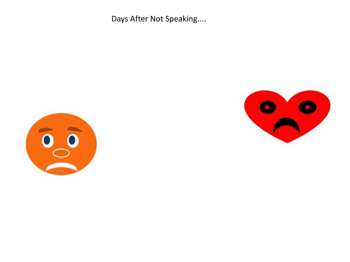 Days After Not Speaking....