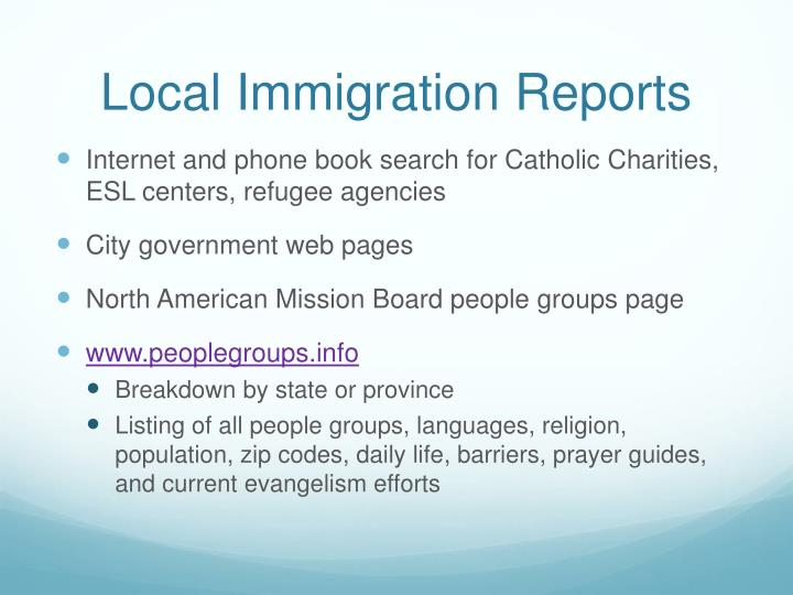 Local Immigration Reports