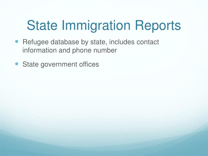 State Immigration Reports