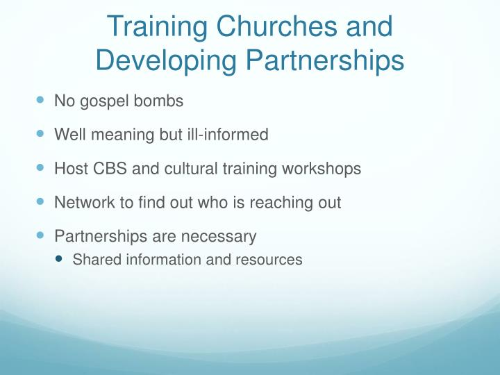 Training Churches and Developing Partnerships