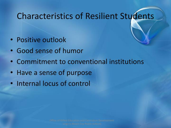 Characteristics of Resilient Students