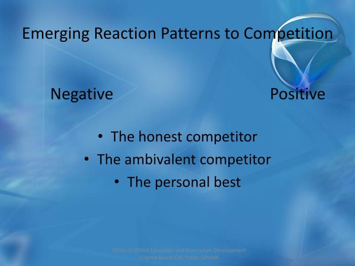 Emerging Reaction Patterns to Competition