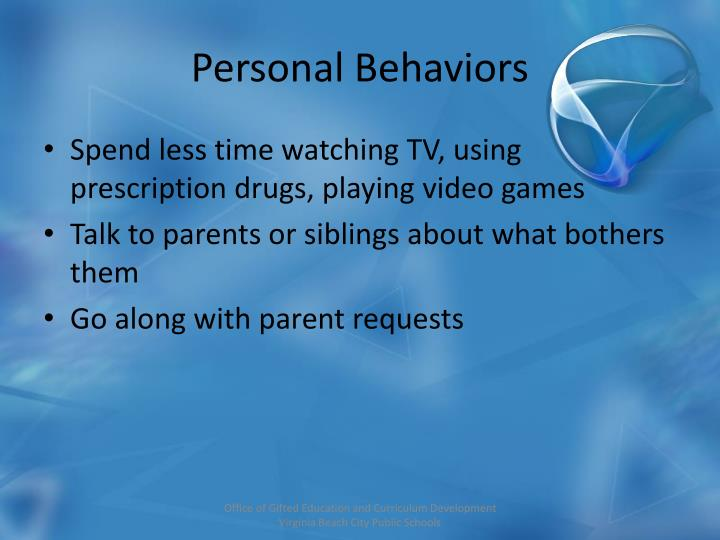 Personal Behaviors