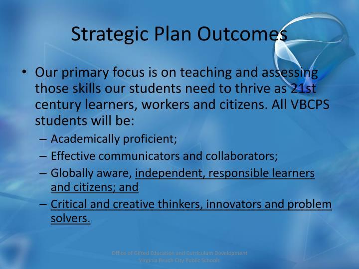 Strategic Plan Outcomes