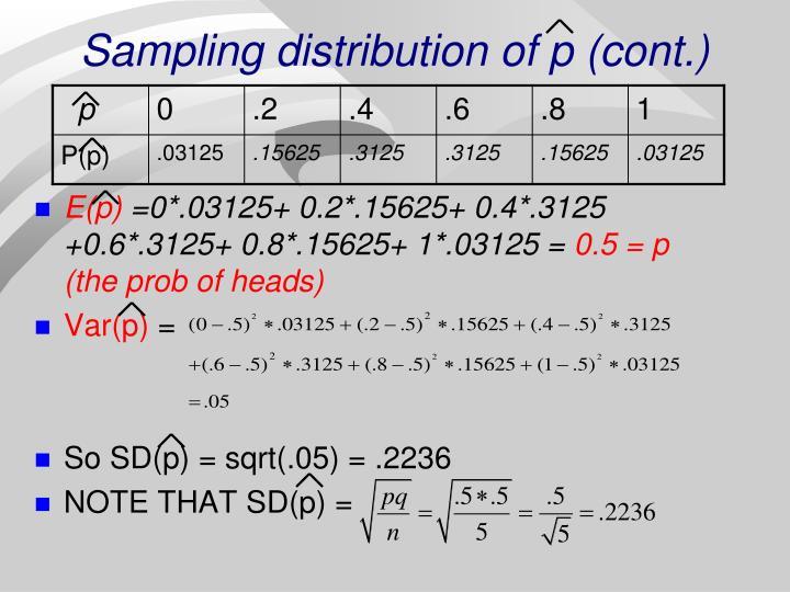 Sampling distribution of p (cont.)