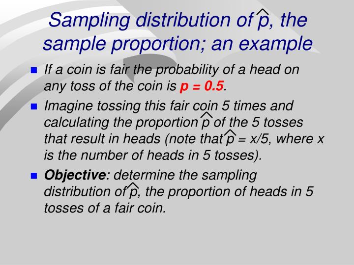 Sampling distribution of p, the sample proportion; an example