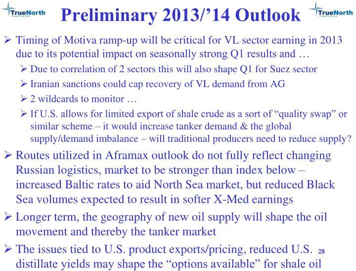 Preliminary 2013/'14 Outlook