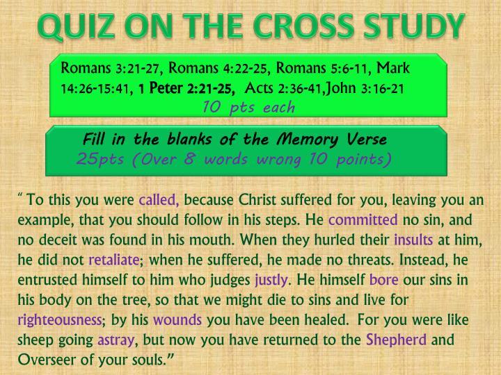 QUIZ ON THE CROSS STUDY
