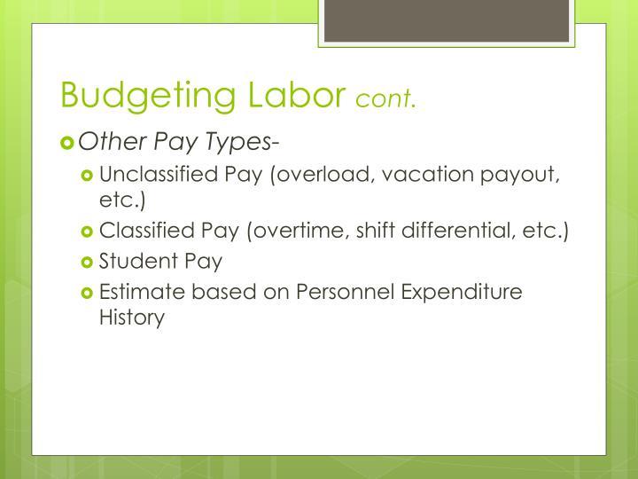 Budgeting Labor