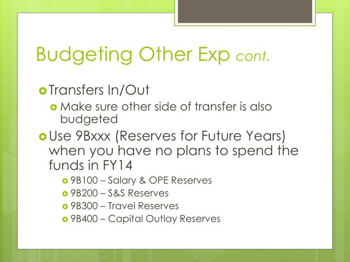 Budgeting Other