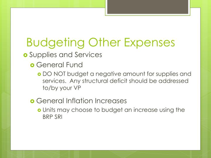 Budgeting Other Expenses
