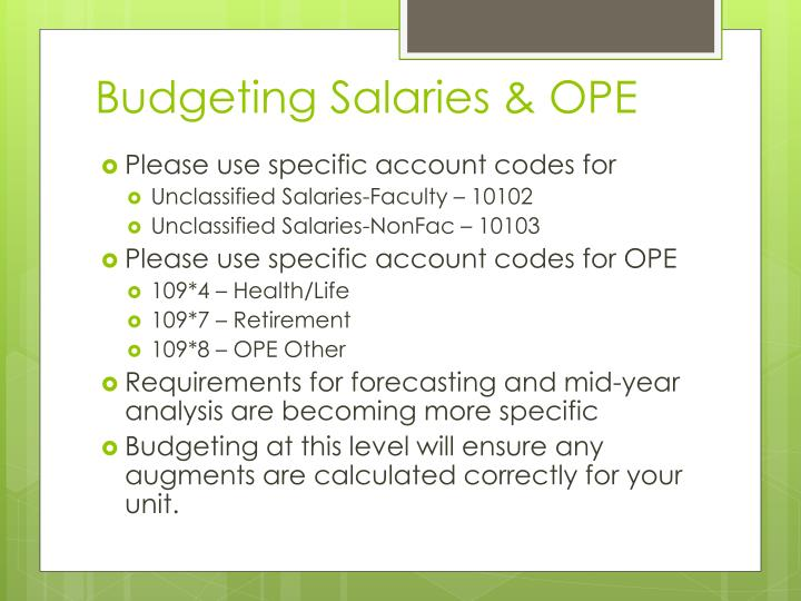 Budgeting Salaries & OPE