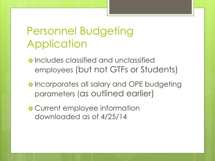 Personnel Budgeting Application