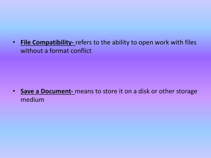 File Compatibility-