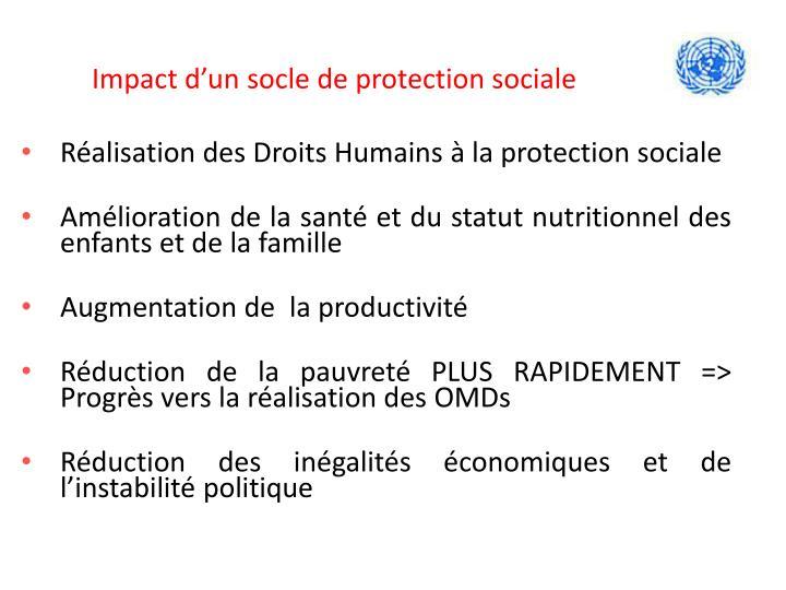 Impact d'un socle de protection sociale