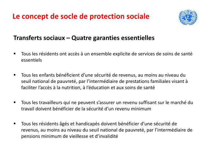 Le concept de socle de protection sociale