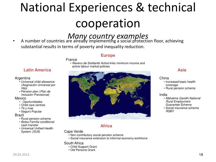 National Experiences & technical cooperation