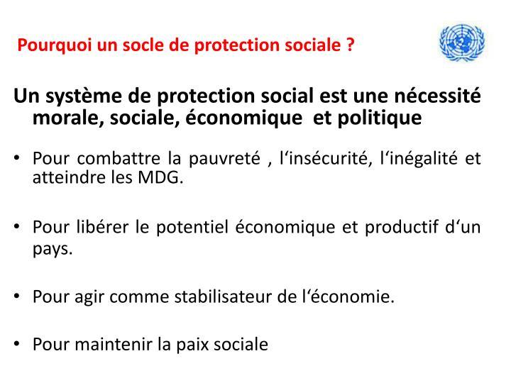 Pourquoi un socle de protection sociale ?