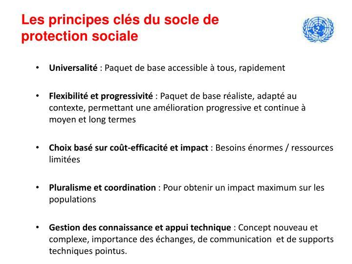 Les principes clés du socle de protection sociale