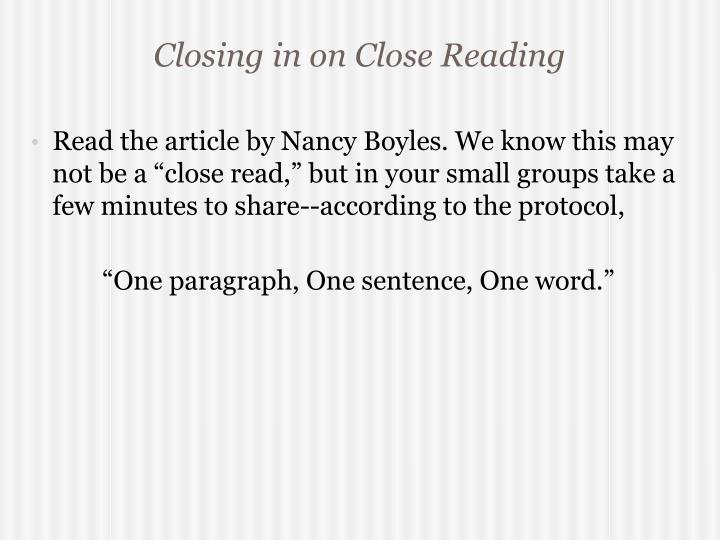 Closing in on Close Reading