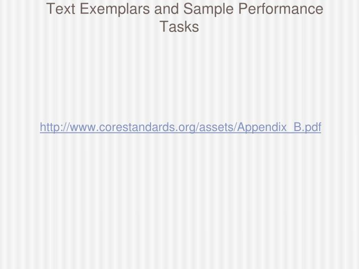 Text Exemplars and Sample Performance Tasks