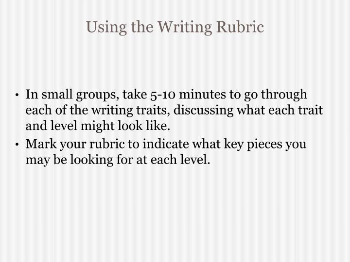 Using the Writing Rubric