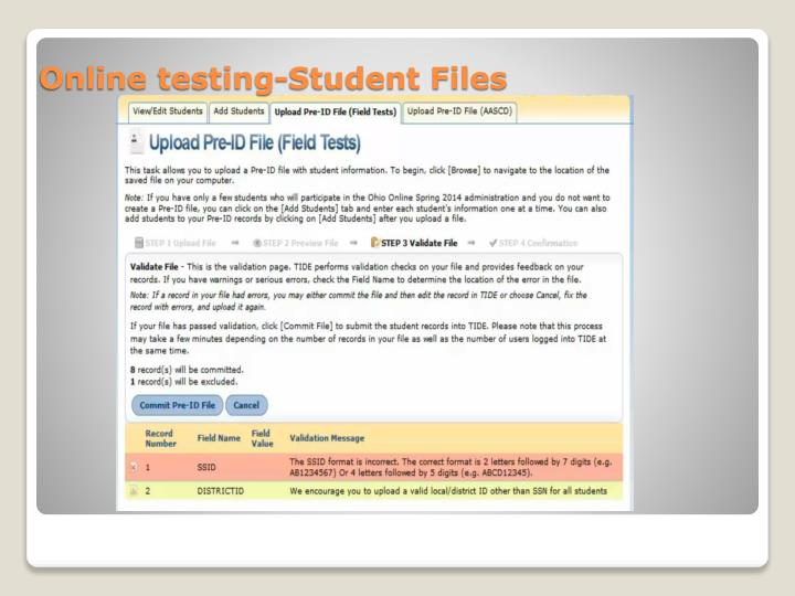 Online testing-Student Files